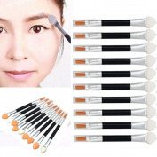 Toraway 10Pcs Makeup Double-end Eye Shadow Eyeliner Brush Sponge Applicator Tool