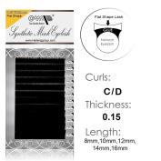 Cashmere Touch Feeling Flat Shaped Faux Mink Eyelash Extensions Semi Permanent Makeup C/D CURL 0.15 /8mm-16mm /12rows/tray