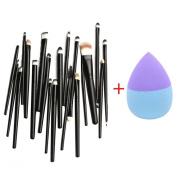 Brushes, RIUDA 20PCS Makeup Brush Cosmetic Tools Brush+1 PC Foundation Puff Sponges