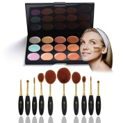 Neverland Beauty 10 Pcs Cosmetic Makeup Brush Face Powder Blusher Toothbrush Curve Brush Foundation + 15 Colours Concealer with Box