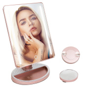 Lighted Makeup Vanity Mirror with LED Lights and 10x Magnification - 5500k White Daylight Lighting Touchscreen Desktop Table Travel Pocket Mirror - Battery Operated - Perfect for Cosmetic Touch Ups