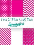 PINK & WHITE PATTERN CRAFT PACK! 6 Pieces 12x12 Chevron Polka Dots Pattern Craft Vinyl Oracal 651