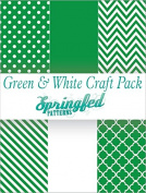KELLY GREEN & WHITE PATTERN CRAFT PACK! 6 Pieces 12x12 Chevron Polka Dots Pattern Craft Vinyl Oracal 651