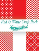 RED & WHITE PATTERN CRAFT PACK! 6 Pieces 12x12 Chevron Polka Dots Pattern Craft Vinyl Oracal 651