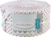 Swiss Dot on White Red Rolie Polie 40 6.4cm Strips Jelly Roll Riley Blake Designs RP-660-80-40