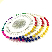 M'VIR Ball Head Straight Pins Multi-coloured Pack of 40 Quilting Sewing Dressmaker Pin 3.8cm Long