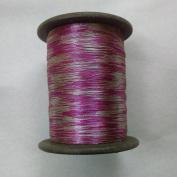 PINK & SILVER - Spool of Shiny Metallic Thread Yarn - For Crochet Sewing Embroidery Handwork Artwork Jewellery