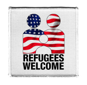 Refugees Welcome Anti Trump - Iron on 10cm x 10cm Embroidered Edge Patch Applique