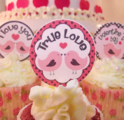 Valentine's Day Cake Toppers - Edible Wafer 4cm x 24 - Cute Love Birds Valentines Cupcake Decorations
