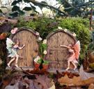 2 Sparkle Fairy Door secret Garden Magical Statue Ornament Gift Set Figurine