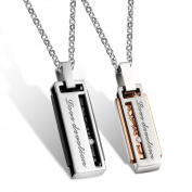 "2PCS His & Hers Matching Set Titanium Stainless Steel Couples Pendant Necklace Korean Love Style Lover's Necklace Chains Pendants ""Love Devotion"" Pendant (Style:Lover's"