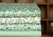 8pc Quilting Bundle Cotton Fabrics for Sewing Patchwork Print Design Tissue Textile Cloth Fabrics Designs Green Colour Size 20x25cm