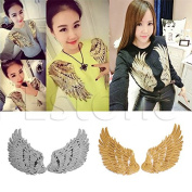 1Pair Wings Sequins Iron-On Embroidered Patch Applique Motif Garment Decor Craft