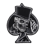 Top Hat Skull Biker Patch Motorcycle Embroidered Iron On Patches By ThaiVintage