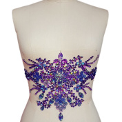 Gorgeous Pure Handmade Bright Crystal Patches Sew-on Purple Rhinestones Waist decoration Applique with Stones Sequins Beads DIY Craft Belt for Wedding Dress Decor Decorations