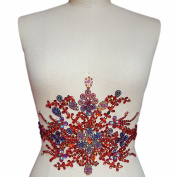 Gorgeous Pure Handmade Bright Crystal Patches Sew-on Red Rhinestones Waist decoration Applique with Stones Sequins Beads DIY Craft Belt for Wedding Dress Decor Decorations