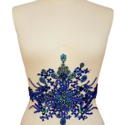 Gorgeous Pure Handmade Bright Crystal Patches Sew-on Blue Rhinestones Waist decoration Applique with Stones Sequins Beads DIY Craft Belt for Wedding Dress Decor Decorations