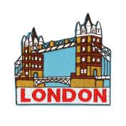 "UK Landmark ""London"" Tower Bridge Travel Patch England Souvenir Iron-On Applique"