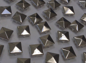 CraftbuddyUS 100 X 12mm Silver Square Pyramid Craft Studs, Fashion Embellishment for Bag Shoe
