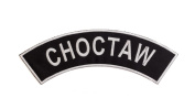 CHOCTAW Black w/ White Top Rocker Iron On Patch for Motorcycle Rider or Bikers Vest