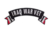 IRAQ WAR VET Black w/ White with White/Black/Red Flags Top Rocker Iron On Patch for Motorcycle Rider or Bikers Veteran Vest