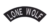 LONE WOLF Black w/ White Top Rocker Iron On Patch for Motorcycle Rider or Bikers Vest