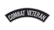 COMBAT VETERAN Black w/ White Top Rocker Iron On Patch for Motorcycle Rider or Bikers Veteran Vest