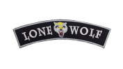 LONE WOLF Black w/ White with Wolf Emblem Top Rocker Iron On Patch for Motorcycle Rider or Bikers Vest