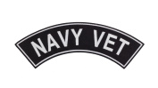 NAVY VET Black w/ White Top Rocker Iron On Patch for Motorcycle Rider or Bikers Veteran Vest