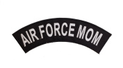 AIR FORCE MOM Black w/ White Top Rocker Iron On Patch for Motorcycle Rider or Bikers Veteran Vest