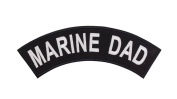 MARINE DAD Black w/ White Top Rocker Iron On Patch for Motorcycle Rider or Bikers Veteran Vest