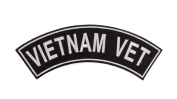 VIETNAM VET Black w/ White Top Rocker Iron On Patch for Motorcycle Rider or Bikers Veteran Vest