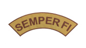 SEMPER FI Coyote w/ Brown Top Rocker Iron On Patch for Motorcycle Rider or Bikers Veteran Vest