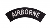 AIRBORNE Black w/ White Top Rocker Iron On Patch for Motorcycle Rider or Bikers Veteran Vest