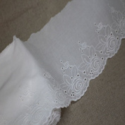 1yard Broderie Anglaise eyelet cotton lace trim 14.5cm White Ivory SH22