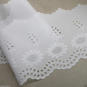 1Y Broderie Anglaise cotton eyelet lace trim 21cm white YH558s