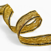 Metallic GOLD Braid Trim for Bridal, Costume or Jewellery, Crafts and Sewing, 2.5cm by 1-Yard, BADE-11660