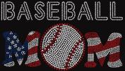 Rhinestone Baseball Mom Stars and Stripes Iron on Transfer
