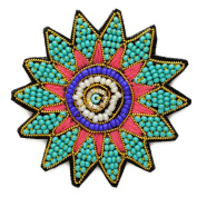 Stitch-on Beaded Applique Patch by pc, 5.1cm - 0.6cm D, Multicolor, OSB-30479