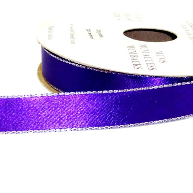 ACI PARTY AND SPIRIT ACCESSORIES Double Face Satin Ribbon Glitz, Purple with Silver Edge