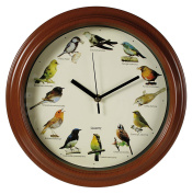 Bird Life Wall Clock with Bird Sounds on the Hour - Great Novelty Fun Gift