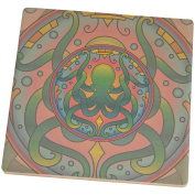 Mandala Trippy Stained Glass Octopus Set of 4 Square SandsTone Art Coasters Multi Standard One Size