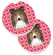 Caroline's Treasures BB5312CARC Sheltie Hearts Set of 2 Cup Holder Car Coasters , Large, multicolor