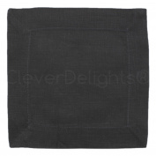 12 CleverDelights Black Linen Cocktail Napkins - 15cm x 15cm - 100% Pure Linen - Beverage Coaster Napkins
