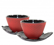 2 Black Leaf Teapot Saucer + 2 Red Polka Dot Hobnail Japanese Cast Iron Tea Cup Teacup ~ We Pay Your Sales Tax