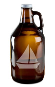 Cute Sailboat Hand-Made Etched Glass Beer Growler 1890ml