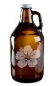 Pretty Budding Flower Hand-Made Etched Glass Beer Growler 1890ml