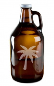 Tropical Palm Tree Hand-Made Etched Glass Beer Growler 1890ml