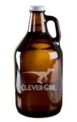 Clever Girl Raptor Dinosaur Hand-Made Etched Glass Beer Growler 1890ml