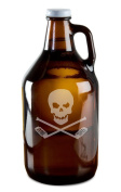 Skull And Crossed Hockey Sticks Hand-Made Etched Glass Beer Growler 1890ml